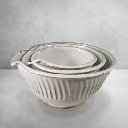 Spouted Mixing Bowl 3-pc. Set Fluted Design in White Glaze