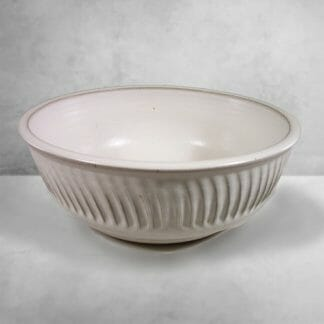 Large Bowl Fluted Design in White Glaze
