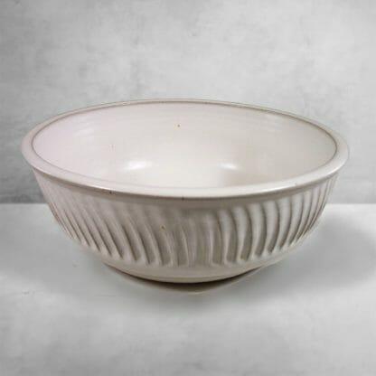 Large Bowl Fluted Design in White Glaze
