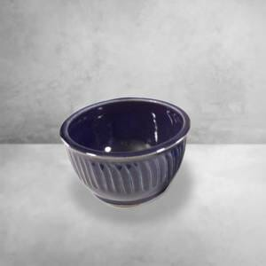 Cereal Bowl Fluted Design in Dark Blue Glaze