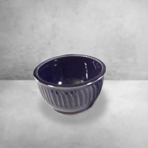 Cereal Bowl Fluted Design in Dark Blue Glaze
