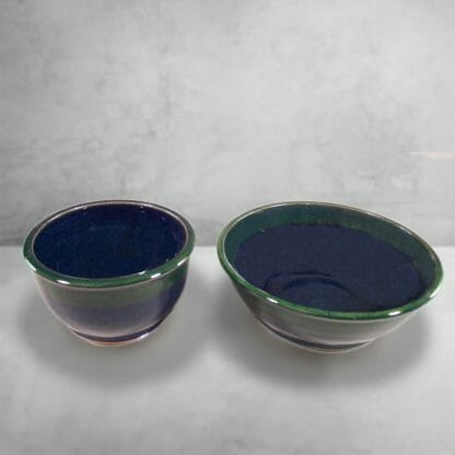 Cereal Bowl or Serving Bowl in Smooth Design Dark Blue and Green Glaze