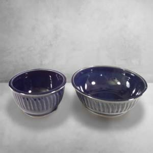 Cereal Bowl and Serving Bowl Fluted Design in Dark Blue Glaze.