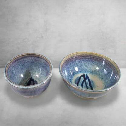 Cereal Bowl and Serving Bowl Smooth Design in Rutile Blue Glaze with Deep Blue Stripes