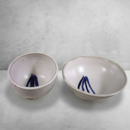 Cereal Bowl and Serving Bowl Fluted Design in White Glaze with Dark Blue Stripes