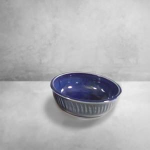 Low Bowl Small Fluted Design in Dark Blue Glaze