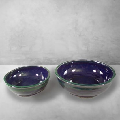 Low Bowls, Regular or Small Sizes, Smooth Design in Dark Blue and Green Glaze.