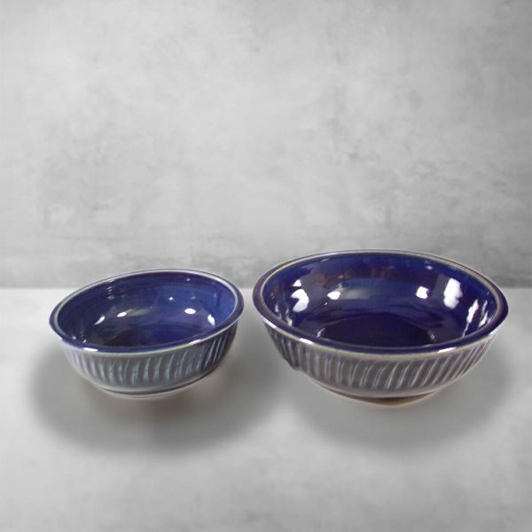 Low Bowls, Small and Regular Sizes, in Fluted DesignDark Blue Glaze