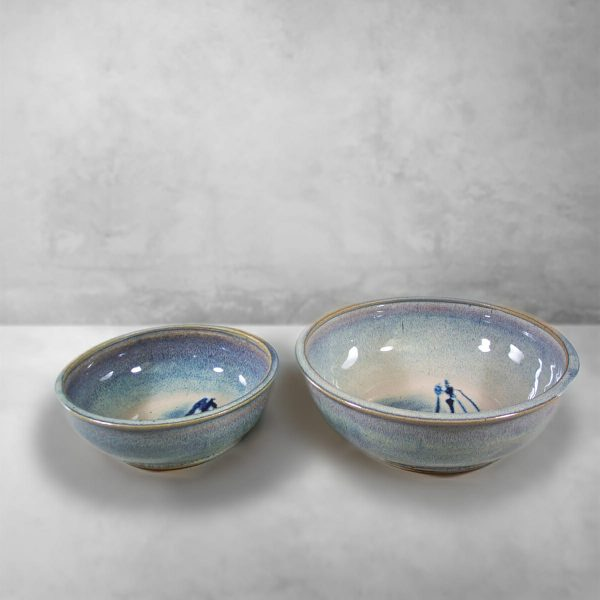 Low Bowls, Small and Regular Sizes, in Smooth Design Rutile Blue Glaze with Dark Blue Stripes