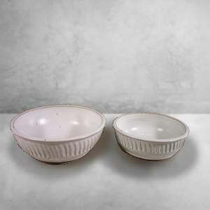 Regular and Small Size Low Bowls in White Glaze.