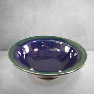 arge Salad Bowl in Dark Blue and Green Glaze.