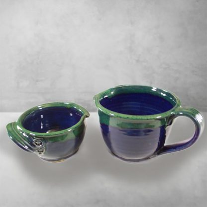 Spouted Bowls with Handles, Small or Large Sizes, Smooth Design in Dark Blue and Green Glaze