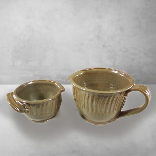 Spouted Bowl with Handle, Small or Large Sizes, Fluted Design in Green Glaze