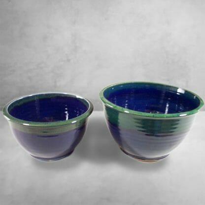 Deep Bowls, Sizes Small or Medium, Smooth Design Dark Blue and Green Glaze