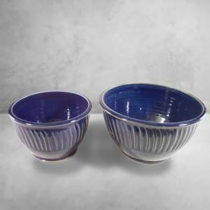 Deep Bowls, Sizes Small and Medium, Fluted Design Dark Blue Glaze.