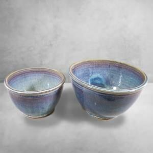 Deep Bowls, Small and Medium Sizes, Rutile Blue Glaze.