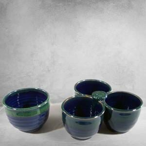 Individual Condiment Bowl and 3-pc Condiment Tray Smooth Design in Dark Blue and Green Glaze