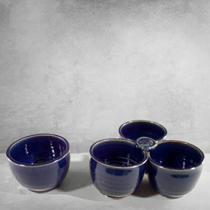 Individual Condiment Bowl and 3-pc Condiment Tray Fluted Design in Dark Blue Glaze