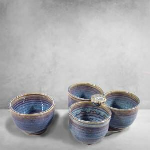 ndividual Condiment Bowl and 3-pc Condiment Tray Smooth Design in Rutile Blue Glaze