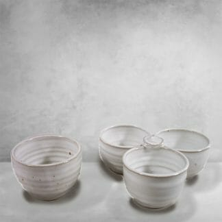 Individual Condiment Bowl or 3-pc Condiment Tray Fluted Design in White Glaze
