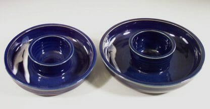 Chip and Dip Small and Large Sizes, Smooth Design in Dark Blue Glaze with White Stripes
