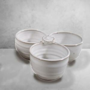 3-pc. Condiment Holder Smooth Design in White Glaze.