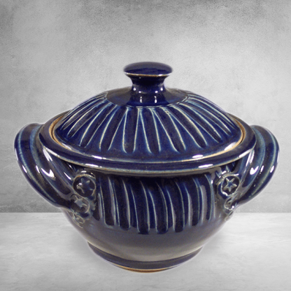 Casserole Small with Lid Fluted Design in Dark Blue GlazeCasserole Small Fluted Design in Dark Blue Glaze