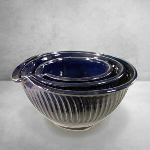 Bowls, Spouted Mixing 3-pc Set, Design2 in Dark Blue Glaze