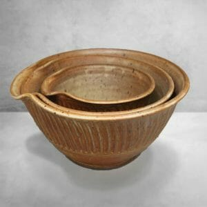 Spouted Mixing Bowls 3-pc Set in Spomudene Glaze