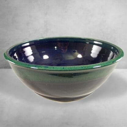 Large Bowl Smooth Design, in Dark Blue and Green Glaze
