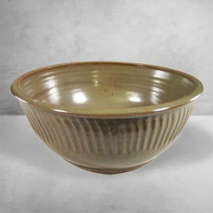 Large Bowl Fluted Design in Green Glaze