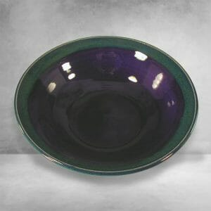 Bowl, Wide, Smooth Design, in Blue and Green Glaze
