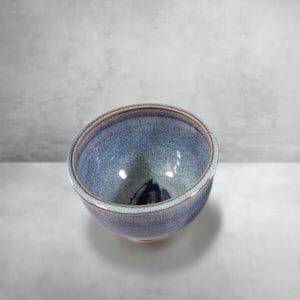 Cereal Bowl, Smooth Design , in Rutile Blue Glaze with Dark Blue Stripes