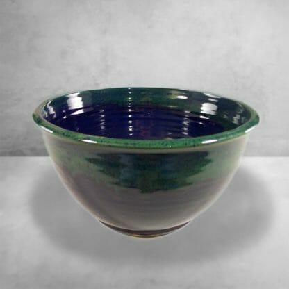 Large Deep Bowl Smooth Design Dark Blue and Green Glaze