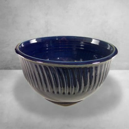 Bowl Deep Large Fluted Design in Dark Blue Glaze