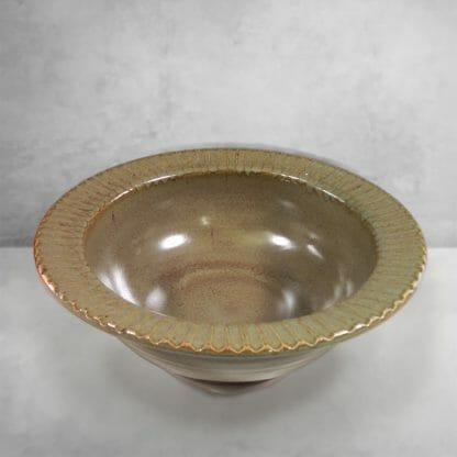 Large Pasta Bowl Fluted Design in Green Glaze