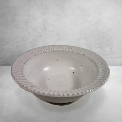 Large Pasta Bowl Fluted Design in White Glaze