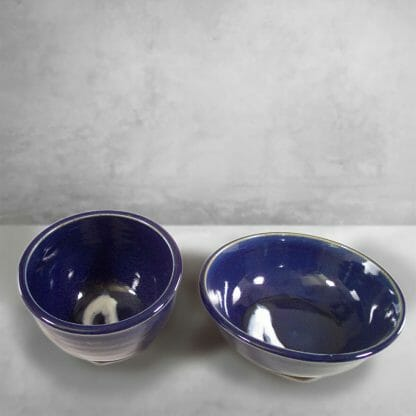 Cereal Bowl and Serving Bowl Smooth Design in Dark Blue Glaze with White Stripes