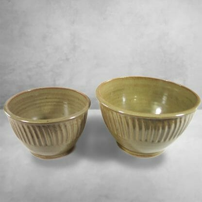 Small Deep Bowl or Medium Deep Bowl Fluted Design in Green Glaze