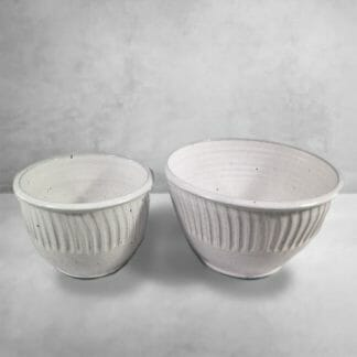Deep Bowls, Small and Medium Sizes, Fluted Design in White Glaze