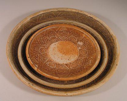 Slip Design Platter, Dinner Plate and Salad Plate