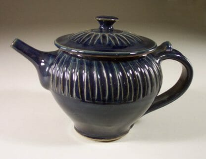 Teapot with Lid Fluted Design in Dark Blue Glaze