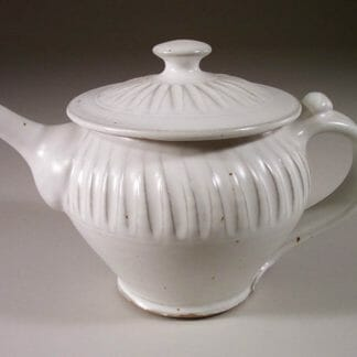 Teapot with Lid Fluted Design in White Glaze