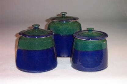 Canister 3-pc Set with Lids Smooth Design in Dark Blue and Green Glaze