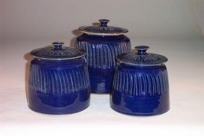 Canister 3-pc Set with Lids Fluted Design in Dark Blue Glaze