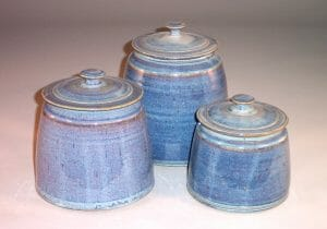 Canister 3-pc Set with Lids Smooth Design in Rutile Blue Glaze