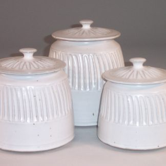 Canister 3-pc Set with Lids, Fluted Design in White Glaze