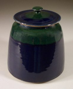 Cookie Jar Smooth Design in Dark Blue and Green Glaze