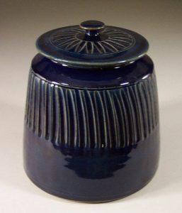 Cookie Jar Flluted Design in Dark Blue Glaze