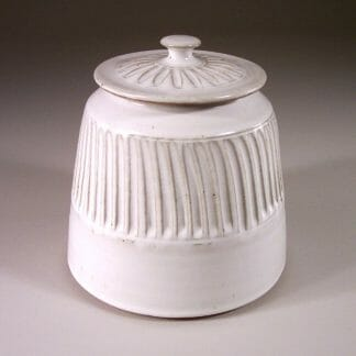 Cookie Jar Fluted Design in White Glaze